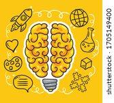 human brain concept. vector... | Shutterstock .eps vector #1705149400