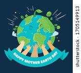 hands with earth  multiethnic... | Shutterstock .eps vector #1705149913