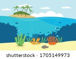 cartoon underwater world with... | Shutterstock .eps vector #1705149973