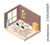 office room workplaces and...   Shutterstock .eps vector #1705150009