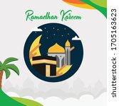 marhaban ya ramadhan vector... | Shutterstock .eps vector #1705163623