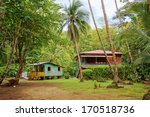 Caribbean House And Hut With...