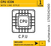 cpu vector icon with outline...