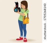 young girl using a professional ... | Shutterstock .eps vector #1705268140