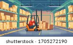 warehouse with worker  forklift ...   Shutterstock .eps vector #1705272190