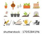 set of garden tools and plants... | Shutterstock .eps vector #1705284196