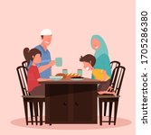 suhoor and iftar party with... | Shutterstock .eps vector #1705286380