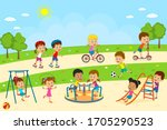 kids  boys and girls  play on... | Shutterstock .eps vector #1705290523