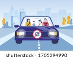 family with kid road trip... | Shutterstock .eps vector #1705294990