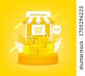 online shopping on mobile....   Shutterstock .eps vector #1705296223