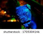 A Monster Dog Head Sculpture....