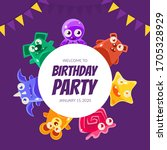 welcome birthday party banner... | Shutterstock .eps vector #1705328929