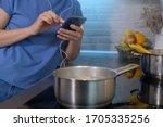 young caucasian woman watching... | Shutterstock . vector #1705335256