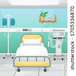 a hospital room with a bed  a... | Shutterstock .eps vector #1705336870