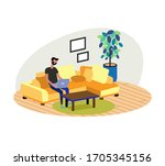 young adult man working at home....   Shutterstock .eps vector #1705345156