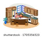 young woman cooking with little ...   Shutterstock .eps vector #1705356523