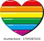 six color rainbow bright heart... | Shutterstock .eps vector #1705387633