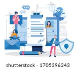 electronic signature. sign... | Shutterstock .eps vector #1705396243