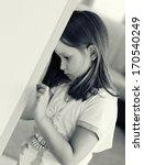 sad little girl. black and... | Shutterstock . vector #170540249
