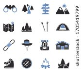 Hiking Icons. Two Tone Flat...