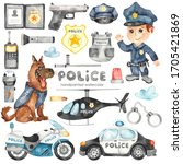 Cute Cartoon Police Helicopter...