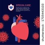 covid 19 virus heart special... | Shutterstock .eps vector #1705443103