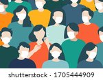 people wearing protective masks ... | Shutterstock .eps vector #1705444909