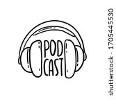 podcast icon. hand drawn vector ... | Shutterstock .eps vector #1705445530