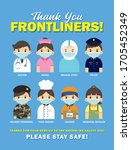 thank you frontliners who work...   Shutterstock . vector #1705452349