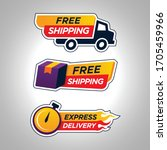 set of free shipping badge icon   Shutterstock .eps vector #1705459966