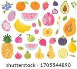 set of exotic fruits in modern... | Shutterstock .eps vector #1705544890