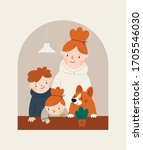 mother with children and dog...   Shutterstock .eps vector #1705546030