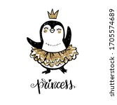 cute penguin princess girl with ... | Shutterstock .eps vector #1705574689