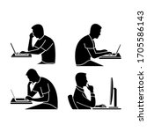 person at the computer vector... | Shutterstock .eps vector #1705586143