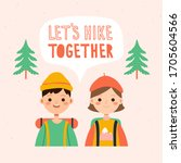 traveling couple hiking boy and ...   Shutterstock .eps vector #1705604566