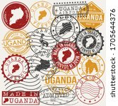 uganda set of stamps. travel... | Shutterstock .eps vector #1705644376