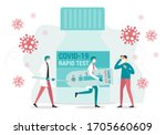 Concept of Coronavirus rapid test. Two doctors examined a Coronavirus Covid-19 patient with a big rapid test kit. Healing the Coronavirus outbreak concept. Flat style ilustration.