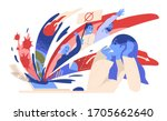 woman suffering from panic... | Shutterstock .eps vector #1705662640