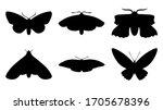 butterflies silhouettes set ... | Shutterstock .eps vector #1705678396