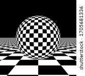 A Checkered Sphere On A...