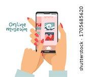 online museum concept as female ...   Shutterstock .eps vector #1705685620