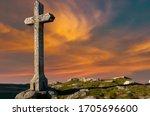 Stone Cross Against Beautiful...