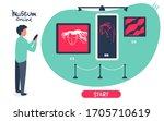 man holds phone  visit online...   Shutterstock .eps vector #1705710619