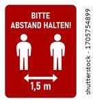 "bitte abstand halten  ""please...   Shutterstock .eps vector #1705754899"