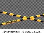 coronavirus danger stripes on... | Shutterstock .eps vector #1705785136