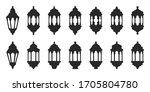 set of vector black ramadan... | Shutterstock .eps vector #1705804780