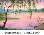 Watercolor Landscape. Young...