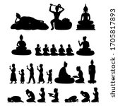 set of buddha monk and buddhism ...   Shutterstock .eps vector #1705817893