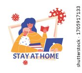 family stayed at home. mom with ... | Shutterstock .eps vector #1705917133