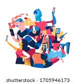 people with digital devices....   Shutterstock .eps vector #1705946173